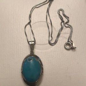 Sterling silver Mexican turquoise necklace